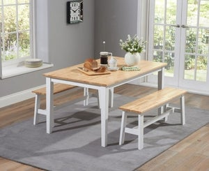 Mark Harris Chichester Oak and White Large Dining Table and 2 Benches