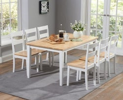 Mark Harris Chichester Oak and White Large Dining Table and 4 Chairs