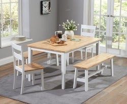 Mark Harris Chichester Oak and White Large Dining Table with 2 Chairs and 2 Benches