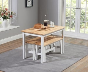 Mark Harris Chichester Oak and White Dining Table and 2 Benches