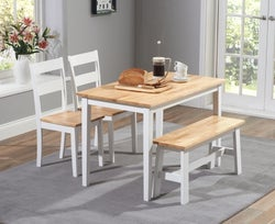 Mark Harris Chichester Oak and White Dining Table with 2 Chairs and Bench