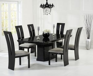 Mark Harris Como Black Engineered Marble Large Dining Table and 4 Valencie Chairs