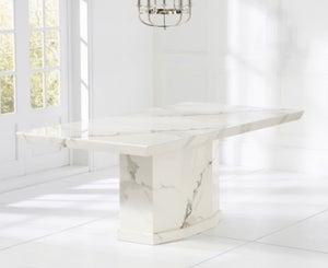 Mark Harris Como White Engineered Marble Dining Table