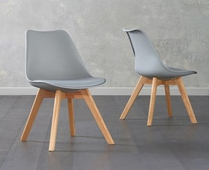 Mark Harris Dannii Light Grey Faux Leather Dining Chair (Pair)