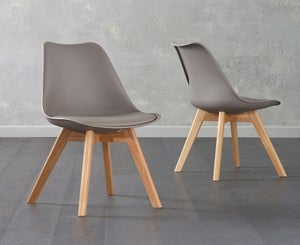 Mark Harris Dannii Taupe Faux Leather Dining Chair (Pair)