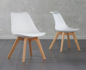 Mark Harris Dannii White Faux Leather Dining Chair (Pair)