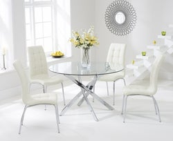 Mark Harris Daytona Glass Round Dining Table and 2 California Chairs - Chrome and Cream