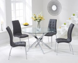 Mark Harris Daytona Glass Round Dining Table and 2 California Chairs - Chrome and Grey