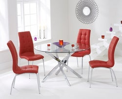 Mark Harris Daytona Glass Round Dining Table and 2 California Chairs - Chrome and Red