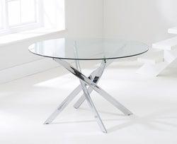 Mark Harris Daytona Round Dining Table - Glass and Chrome