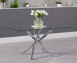 Mark Harris Daytona Dining Table - Glass and Chrome