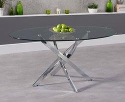 Mark Harris Daytona Oval Dining Table - Glass and Chrome