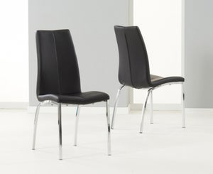 Mark Harris Carsen Black Faux Leather Dining Chair (Pair)