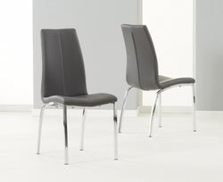 Mark Harris Carsen Grey Faux Leather Dining Chair (Pair)