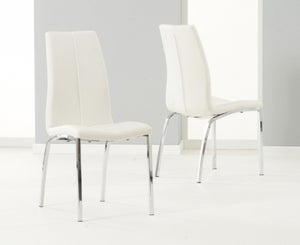 Mark Harris Carsen Ivory Faux Leather Dining Chair (Pair)