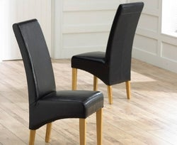 Mark Harris Roma Black Bycast Leather Dining Chair (Pair)