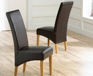 Mark Harris Roma Brown Bycast Leather Dining Chair (Pair)