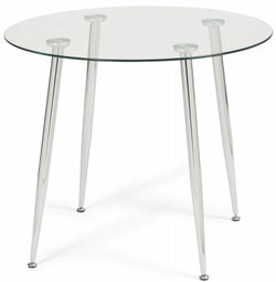Mark Harris Carolina Round Dining Table - Glass and Chrome