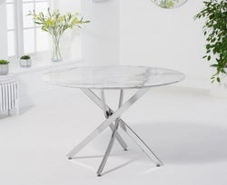 Mark Harris Clara White Marble and Chrome Round Dining Table