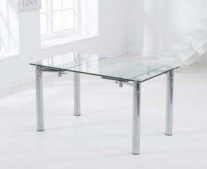 Mark Harris Grenada Extending Dining Table - Glass and Chrome