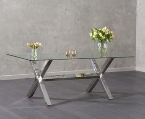 Mark Harris Ricardo Dining Table - Glass and Chrome