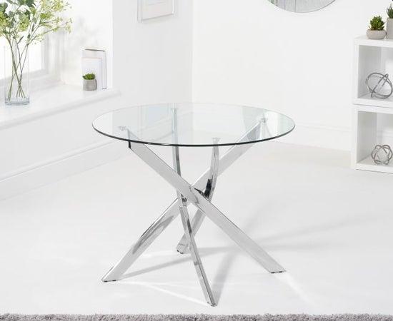 Mark Harris Daytona Glass and Chrome Round Dining Table