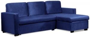 Mark Harris Ellie Blue Velvet Reversible Chaise Sofa Bed