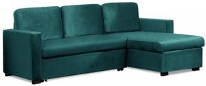 Mark Harris Ellie Green Velvet Reversible Chaise Sofa Bed