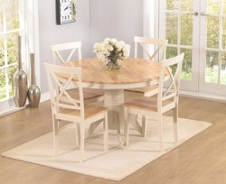 Mark Harris Elstree Round Dining Table and 4 Chairs - Oak and Cream
