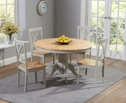 Mark Harris Elstree Round Dining Table and 4 Dining Chairs - Oak and Grey