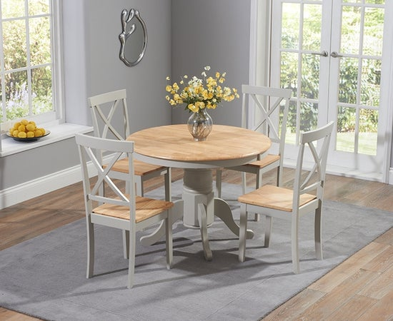 Mark Harris Elstree Butterfly Extending Dining Table and 4 Chairs - Oak and Grey