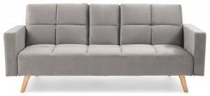 Mark Harris Erica Grey Velvet 3 Seater Fold Down Sofa Bed