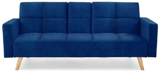 Mark Harris Erica Blue Velvet 3 Seater Fold Down Sofa Bed