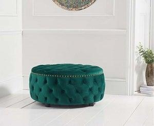 Mark Harris Fiona Green Velvet Round Footstool