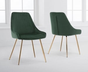 Mark Harris Florida Green Velvet Dining Chair (Pair)