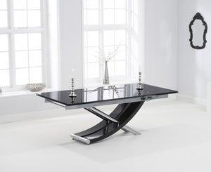 Mark Harris Hanover Extending Dining Table - Black Glass and Chrome