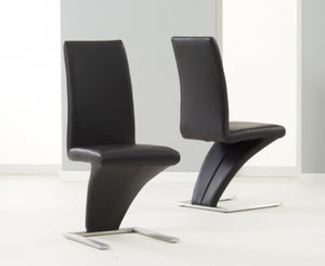 Mark Harris Hereford Black Faux Leather Dining Chair (Pair)
