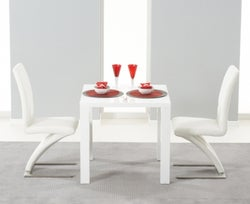 Mark Harris Hereford White High Gloss Square Dining Table and 2 Hereford White Chairs