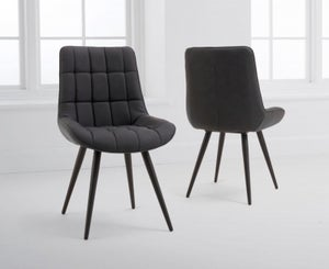 Mark Harris Horacio Grey Faux Leather Dining Chair (Pair)