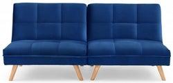 Mark Harris Izzy Blue Velvet 3 Seater Fold Down Sofa Bed