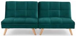 Mark Harris Izzy Green Velvet 3 Seater Fold Down Sofa Bed