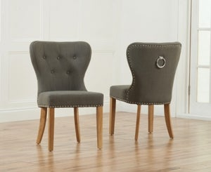 Mark Harris Kalim Dining Chair (Pair) - Grey Fabric and Oak