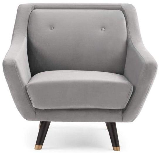 Mark Harris Laura Grey Velvet Armchair