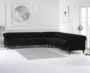 Mark Harris Lauren Black Velvet 2+2 Corner Sofa