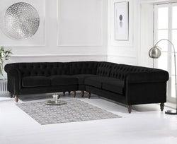 Mark Harris Lauren Black Velvet Corner Sofa