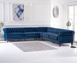 Mark Harris Lauren Blue Velvet 2+2 Corner Sofa