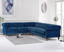 Mark Harris Lauren Blue Velvet Corner Sofa