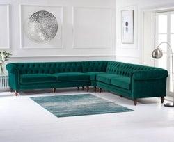 Mark Harris Lauren Green Velvet 2+2 Corner Sofa