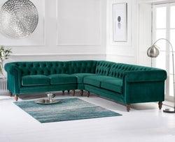 Mark Harris Lauren Green Velvet Corner Sofa