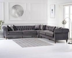 Mark Harris Lauren Grey Velvet 2+2 Corner Sofa